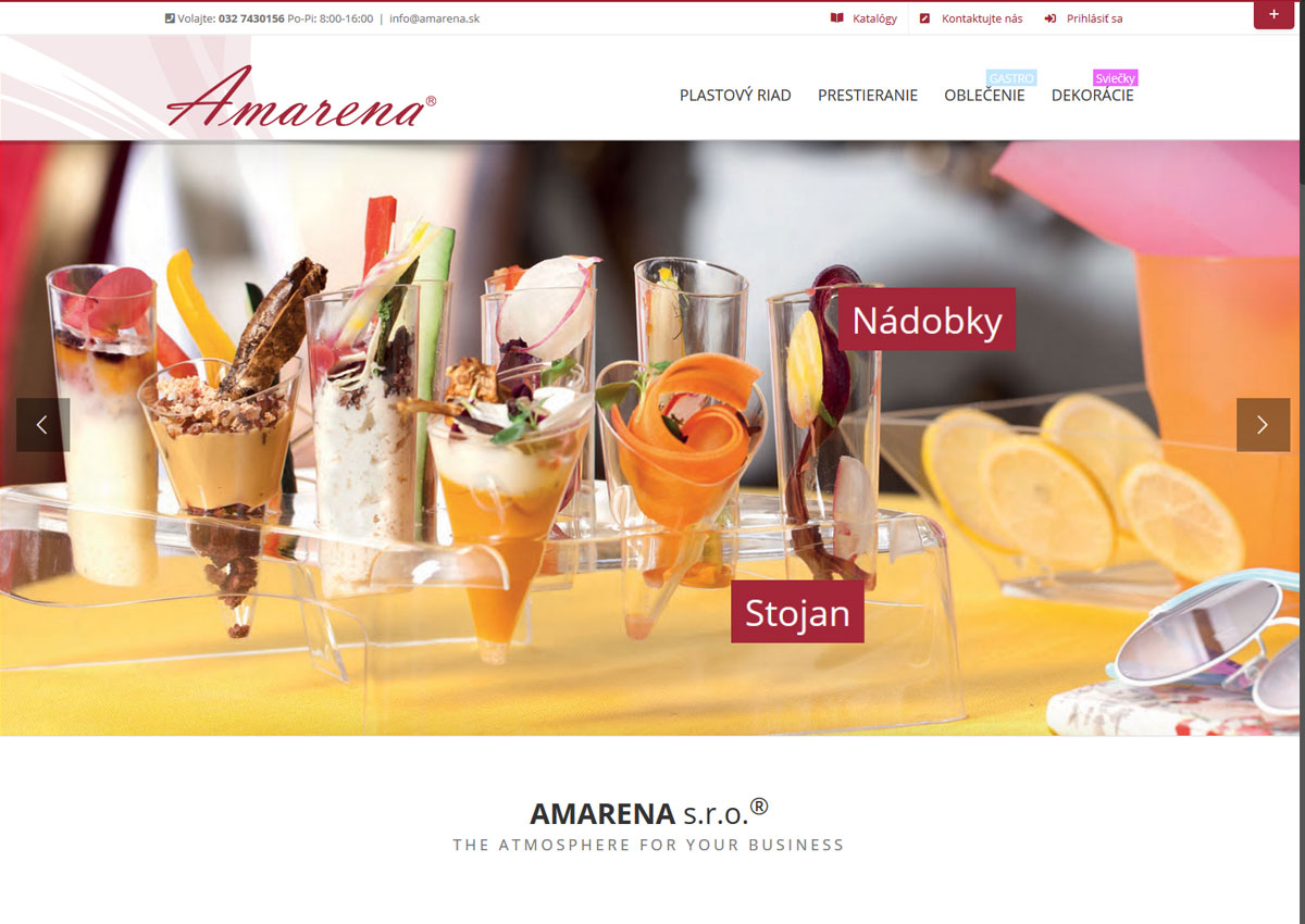 www.amarena.sk home page