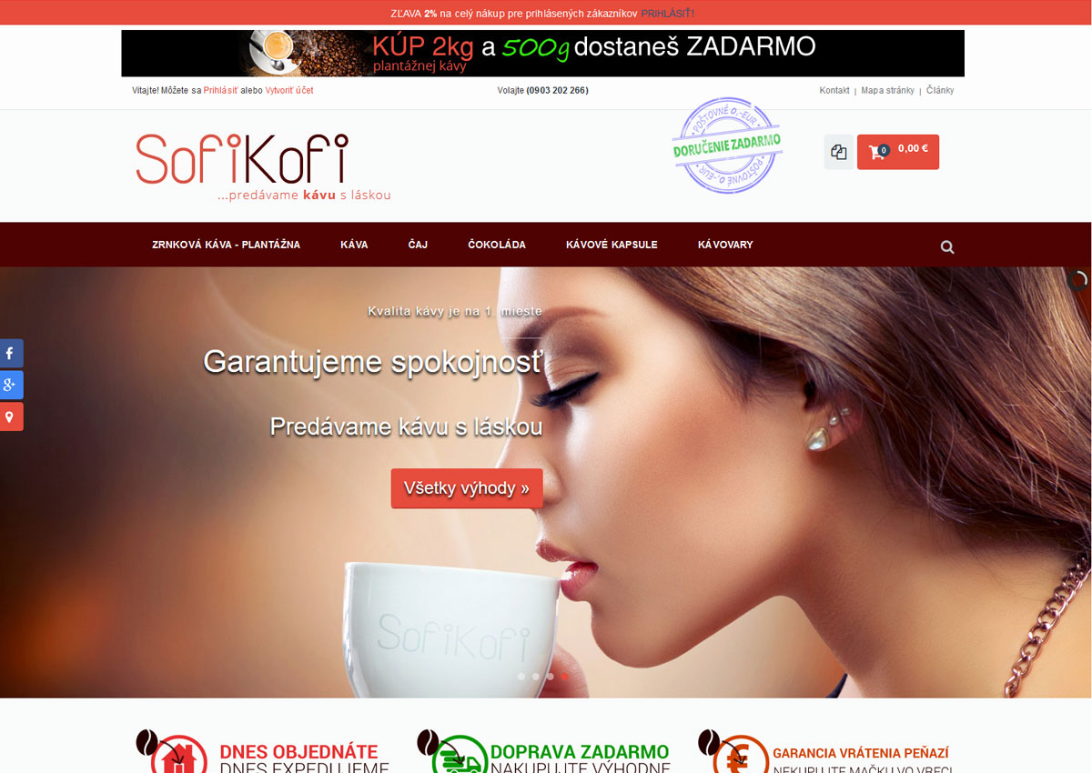 www.sofikofi.sk eshop home page