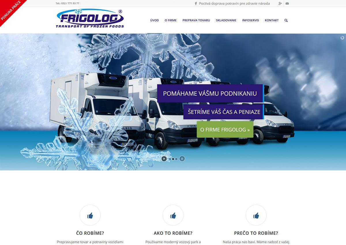 webstránka www.frigolog.sk homepage