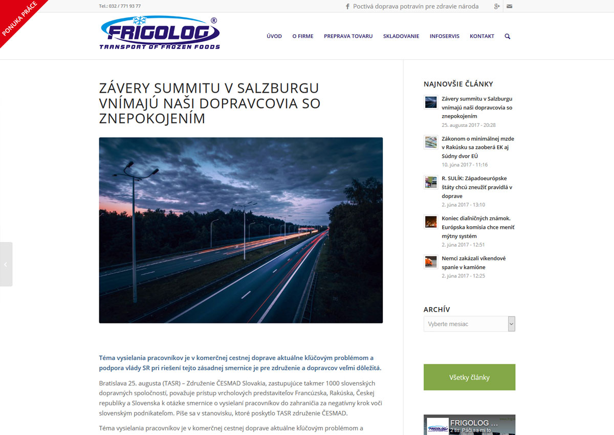 webstránka www.frigolog.sk infoservis